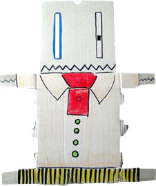 this was the first boxdoodle. It looks like a robot and was made of an old stockphoto-book wrapping